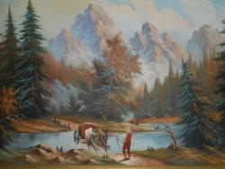 Picturi cu peisaje Carul cu boi