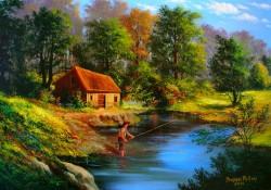 Picturi cu peisaje Casuta din padure