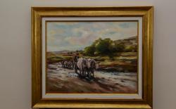 Picturi cu peisaje Car cu boi (reproducere)