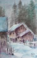 Picturi cu peisaje Case iarna
