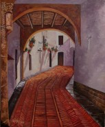 Picturi cu peisaje Curte mediterana