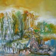 Picturi cu peisaje Atmosfera de primavara ulei pe pinza