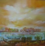 Picturi cu peisaje Barci pescaresti in delta