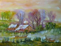 Picturi cu peisaje Biserica in delta