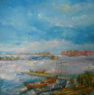 Picturi cu peisaje Delta iarna