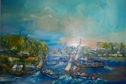 Picturi cu peisaje Peisaj in Delta la Sulina Canale