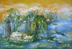 Picturi cu peisaje Salcii in delta ulei pe pinza