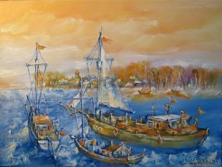 Picturi cu peisaje Vase vechi in delta dunarii