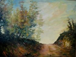 Picturi cu peisaje Seara pe deal