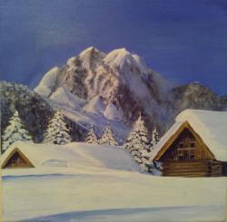 Picturi cu peisaje cabana iarna