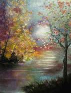 Picturi cu peisaje Lac inflorit