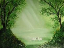 Picturi cu peisaje Mirajul lacului