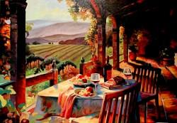 Picturi cu peisaje Apus de soare in toscana