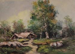 Picturi cu peisaje Cabana din padure