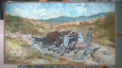 Picturi cu peisaje peisaj - car cu boi