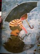 Picturi cu peisaje Copilul cu umbrela