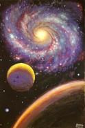 Picturi cu peisaje O galaxie si doua planete