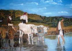 Picturi cu peisaje Car cu boi trecand vadul
