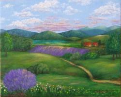 Picturi cu peisaje Dealul cu lavanda