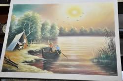 Picturi cu peisaje Apus de soare in delta