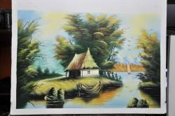 Picturi cu peisaje Delta cu barcuta