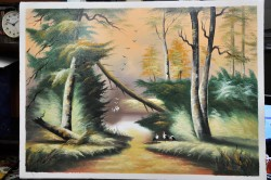 Picturi cu peisaje Delta cu berze
