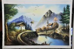 Picturi cu peisaje Montan cu bisericuta