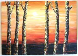 Picturi cu peisaje Apus cu mesteceni