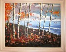 Picturi cu peisaje Mestecenii si marea