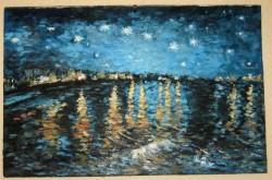 Picturi cu peisaje Noapte instelata pe ron