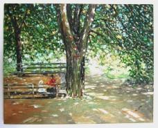 Picturi cu peisaje Odihna in parc
