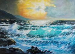 Picturi cu peisaje valuri la mal