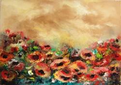 Picturi cu peisaje Furtuna pe campul cu maci