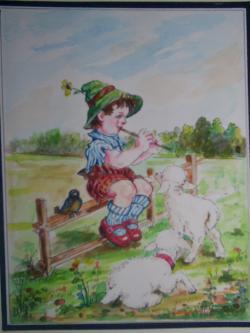 Picturi cu peisaje Ciobanas cu doua mioare