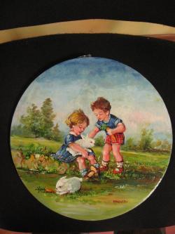 Picturi cu peisaje Copii cu iepurasi