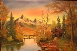 Picturi cu peisaje Apus de toamna