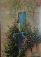 Picturi cu peisaje Casa cu trandafiri