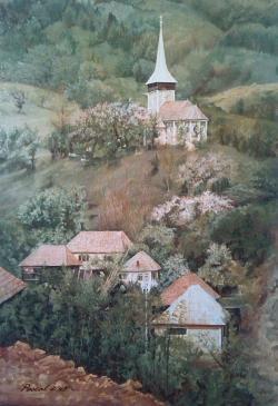 Picturi cu peisaje Geamana primavara, in 1980