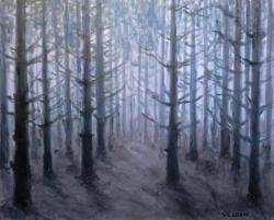 Picturi cu peisaje Pădurea albastră