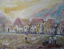 Picturi cu peisaje SUNRISE ON FIELD