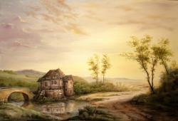 Picturi cu peisaje A Quiet Sunset