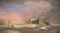 Picturi cu peisaje Apus de iarna (x)