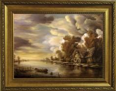 Picturi cu peisaje Dan scurtu - river scene 3
