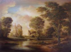 Picturi cu peisaje Dan scurtu - sunset scene