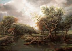 Picturi cu peisaje Forest Landscape with Old Watermill