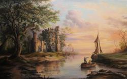 Picturi cu peisaje Scena apus