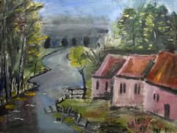 Picturi cu peisaje Lacul cu frunze de toamna