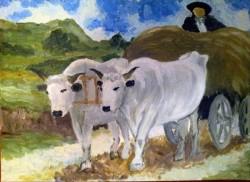 Picturi cu peisaje Car cu boi