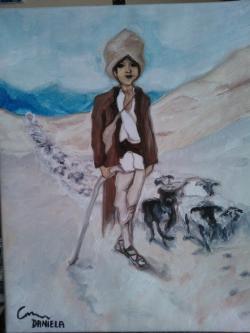 Picturi cu peisaje ciobanasul cu turma de oii  cod 139