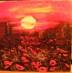 Picturi cu peisaje Apus in campul de maci